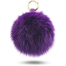 BELK Ultra Soft Touch Authentic Mink Furry Pom Pom Ball Perfect For Car Keychain & Bag Purse Charm - Purple