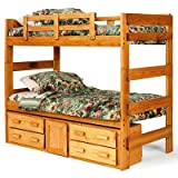 Chelsea Home Furniture 3662001-1305 Extra Tall Twin Over Twin with Underbed Storage Bunk Bed, 68''H, Honey