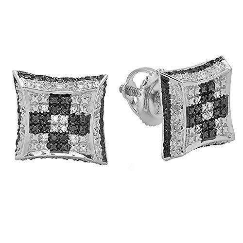 rling Silver White & Black Diamond Chess Setting Kite Stud Earrings 1/10 CT ()
