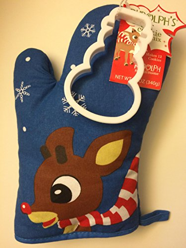 Rudolph The Red-Nosed Reindeer Bumble's Sugar Cookie Mix Set, Including Bumble the Abominable Snowman Oven Mitt filled with Sugar Cookie Mix (12 Ounces) and Snowflake-Shaped Cookie Cutter