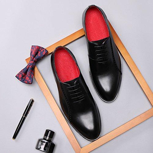 Ocasionales Wild Para Los Fondo Color Clásicos Grueso Zapatos Hombre Transpirable Negro Heighten Encaje Hombres De Tamaño Cuero Eu38 uk Piel Business Otoño qpzxgtxZw
