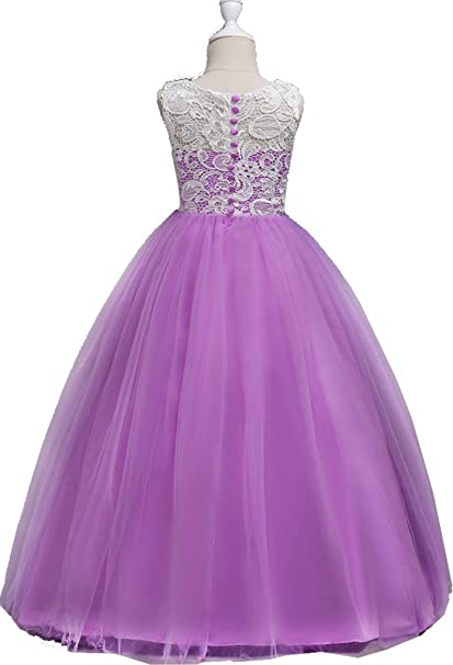 Amazon.com: Little/Big Girls Lace Crochet Full Length Ball Gown Birthday Party Dance Dress: Clothing