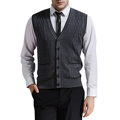 Button Up Sweater Vest - Zicac Men's V-Neck Jacquard Vest Knitwear Sweater Waistcoat (XL, Dark Gray)