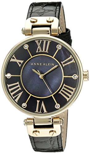 Anne Klein Womens AK1396BMBK Gold-Tone Black Mother-Of-Pearl Dial Leather Dress Watch