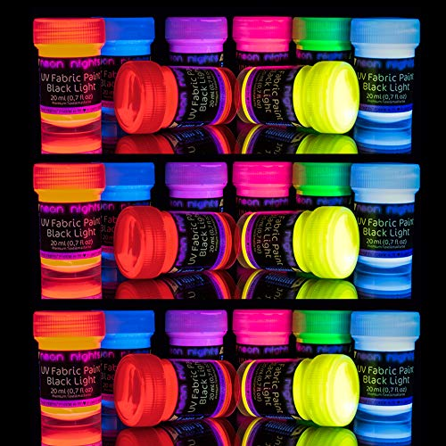 neon nights 'XXL Set' 24 Cans of Glow Fabric & Textile Paint UV Black Light Fluorescent Ultraviolet ()
