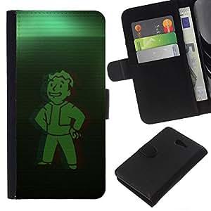 // PHONE CASE GIFT // Moda Estuche Funda de Cuero Billetera Tarjeta de crédito dinero bolsa Cubierta de proteccion Caso Sony Xperia M2 / Green Vault Boy /