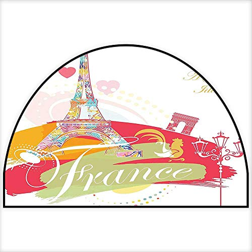 (Semi-Circular Living Room Rug Architectural Vintage Style Street Lamps Paris is Always A Good Idea Ative Art Non Slip Rug W31 x H20 INCH)