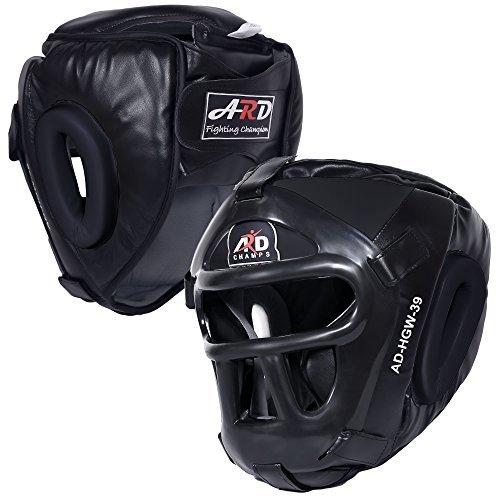 ARD Leather Art MMA Boxing Protector head guard UFC Wrestling helmet head gear (Black, XL)