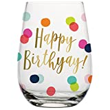 Birthday Wine Glass - 20 oz Happy Birthday Stemless Wine Glass (BOLD Multicolor Confetti, Perfect Birthday Gift)