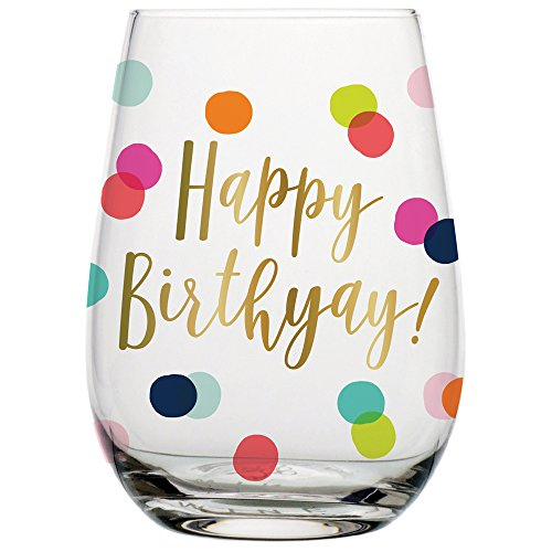 (Birthday Wine Glass - 20 oz Happy Birthday Stemless Wine Glass (BOLD Multicolor Confetti, Perfect Birthday Gift))