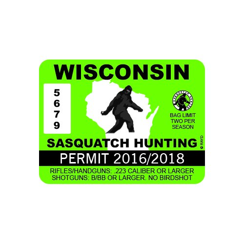 RDW Wisconsin Sasquatch Hunting Permit - Color Sticker - Decal - Die Cut