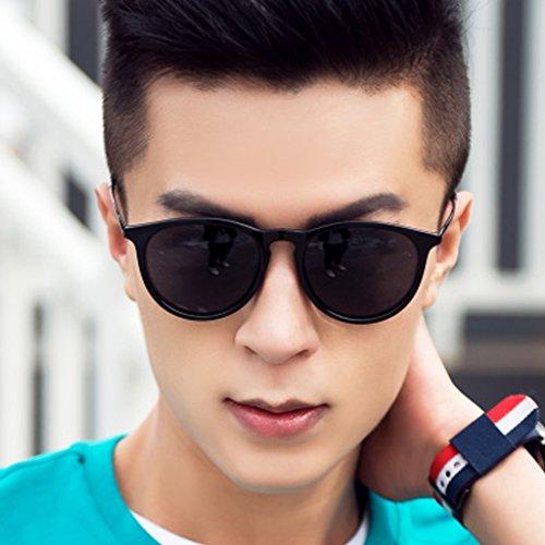 Gafas Blue Redonda Versión Señoras de Gente Retro de Masculinas Conductor Sol Masculinos Coreana Gafas Black conduciendo de Sol conduciendo Color Gafas Las polarizadores de Gafas Cara SAHwWSvrq