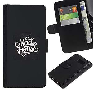 All Phone Most Case / Oferta Especial Cáscara Funda de cuero Monedero Cubierta de proteccion Caso / Wallet Case for Samsung Galaxy S6 // Mad House Music Black White Retro