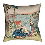 ArtVerse Katsushika Hokusai 16'' x 16'' Indoor/Outdoor UV Properties-Waterproof and Mildew Proof Japanese Courtesan Pillow, 16'' x 16'', 16'' x 16''