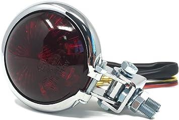 Motorrad LED R/ücklicht Bremslicht Bates Style Schwarz Rotes Glas E-gepr/üft Custom Cafe Racer