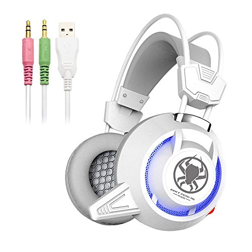 Defway Gaming Headset for PC PS4 Xbox One Laptop Noise Cancelling Over Ear Headphones with Microphone and Volume Control Wired Stereo Earphones for Women Men with LED Light, USB, 3.5mm Jack (white)