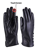 Women Winter Warm Leather Gloves Cashmere Lining Thick Windproof Outdoor Hand Mittens Touch Screen with buttons