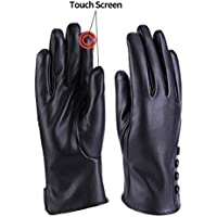 Women Winter Warm PU Gloves Cashmere Lining Thick Windproof Outdoor Hand Mittens Touch Screen with buttons