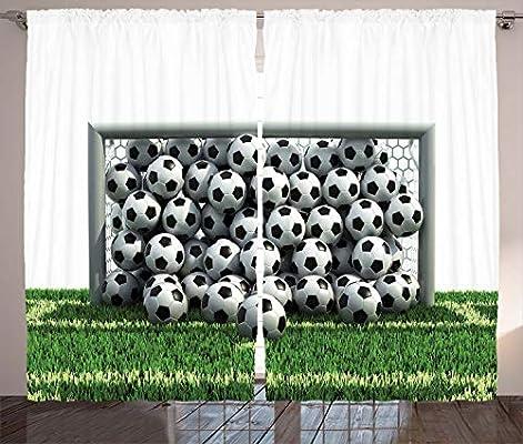 مجموعة Ambesonne Sports Decor، شبكة المرمى كاملة من كرات كرة القدم