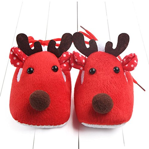 Igemy 1Paar Christmas Neugeboren Säugling Baby Jungen Mädchen Krippe Schuhe Soft Sole Anti-Rutsch Turnschuhe Rot