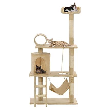 Festnight- Rascador para Gatos con Poste Árbol para Gato 140 cm Beige