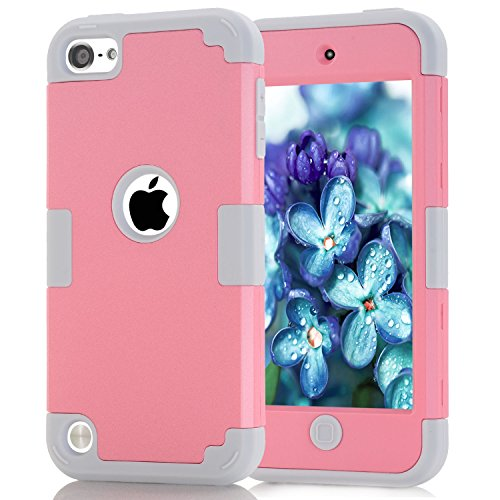 iPod Touch 6 Case, MCUK 3 In 1 Hybrid Cover Silicone Rubber Skin Hard Combo Bumper Scratch-Resistant Case Fit For Apple iPod Touch 5 6th Generation (Pink+Grey)