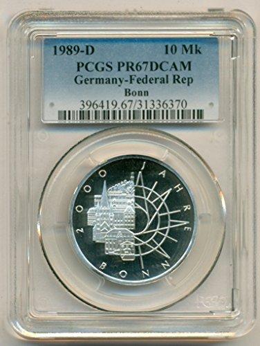 1989 DE West Germany - Bonn Anniversary Silver 10 Mark PR67 DCAM PCGS