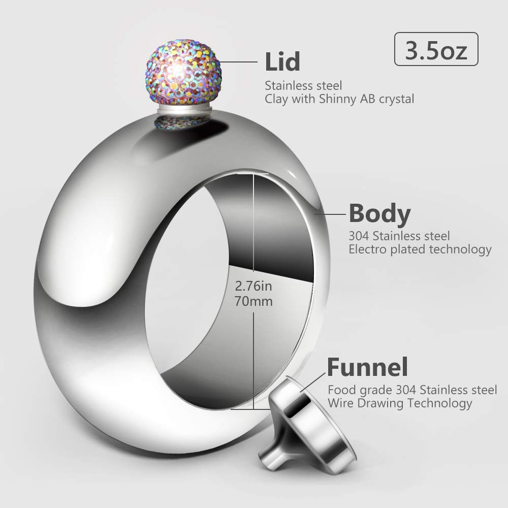 Sliver CCJK Liquor Flask for Women with Funnel Stainless Steel Bangle Bracelet Flask Alcohol Wrist Jewelry