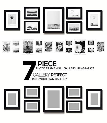 Anti-breaking Home Decorate Multiframe Gallery Photo Frame Sets,Black Color,11×14(1 pc),8×10(2pc),5×7(4pc)Multifunctional Frame Table Wall Frame,Vertical Horizontal Placed Hung (7, Gallery Multiframe ()