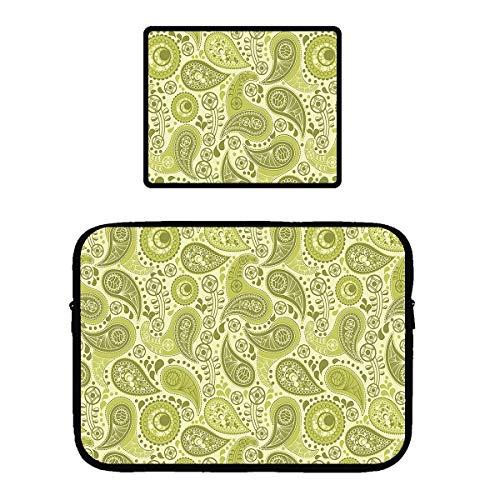 (Beach Surfer Vintage Paisley Leaf Green Laptop & MacBook Zipper Sleeve Bag & Mouse Pad Computer Sleeve Cover for Women Men Girls Boys)