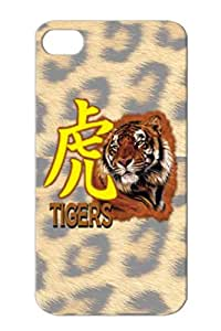 TPU Brown Animals Nature Football Tigers UCHS Cats For Iphone 4 Tiger Image With Symbol Case Cover