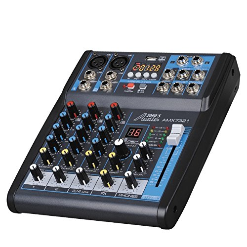Audio 2000s AMX7321UBT 4-Channel Audio Mixer Sound Board with USB, Bluetooth and Sound Effects