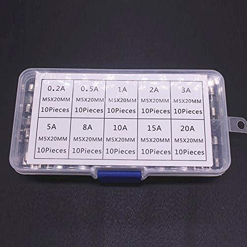 100pcs//Set 0.2A-20A 10 Values Mini Fast-Blow Glass Tube Fuse Assorted Kit Z9B5