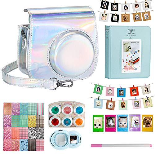 Blummy Instant Camera Accessories Bundles Set for Fujifilm Instax Mini 8/Mini 8+/Mini 9 Including Camera Case/Book Album/Selfie Len/Wall Hanging Frames/Stickers/Strap/Pen (Silver Laser)