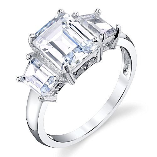 Sterling silver 3 Stone Emerald Cut Cubic Zirconia 4 Carat Engagement Ring Modern Contemporary (Emerald Vvs1)