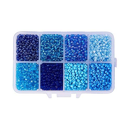 Pandahall 1 Box (About 3600pcs) 8/0 Mixed Blue Round Glass Seed Beads, 3mm (Blue Round Glass)