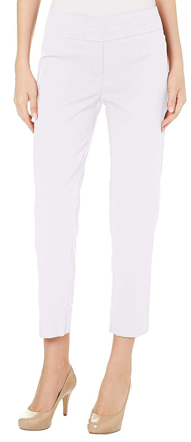 1ac3bd390a160 Zac   Rachel Petite Solid Slim Fit Pull On Pants 14P White at Amazon Women s  Clothing store