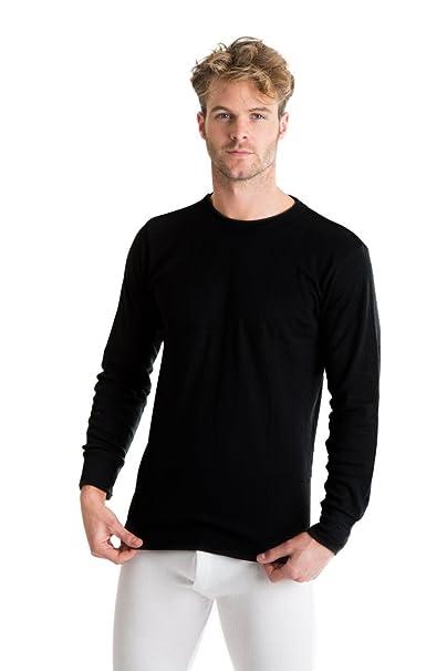 Octave - Hombre ropa interior térmica manga larga top (hecho en uk viscose extra caliente