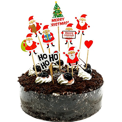 9Pcs Merry Christmas Season Cake Toppers Appetizer Picks Cupcake Decorating Tools For Party Supplies Food Decorations