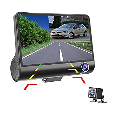 Hikity 4 Inch Dashcam Three-way Car Cameras Full HD 1080P Video Recorder 170 degree Wide View Dash Cam G-sensor Front Lens Night Vision Smart Chips (High Version) by Hikity