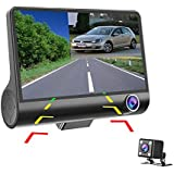 Dash Cam Hikity 4 Inch Dashcam Three-way Car Cameras Full HD 1080P Video Recorder 170 degree Wide View Dash Cam G-sensor Front Lens Night Vision Smart Chips (High Version)
