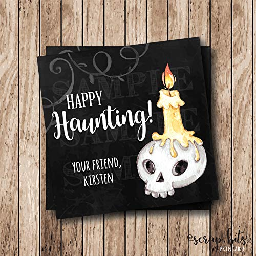 Moira Personalized Printable Halloween Skull Tags Watercolor Happy Haunting Tags Printable Watercolor Halloween Tags Spooky Halloween Labels