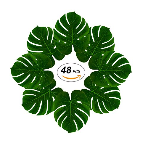 Soyee 48pcs Tropical Large Palm Leaves, DIY Waterproof Artificial Leaf Placemats and Table Runners for Hawaiian Luau Party Decoration, Jungle Party (Leaves Runner)