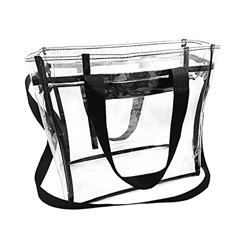 Nova Sport Wear Bag with Handles / Adjustable Strap Transparent Gameday Tote, 12 x 12 x 6 Inch - clear