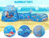 Submarine World Children 3pcs Pop-up Pool-Tunnel-Teepee, Easy Folding Kids Play Tent, Outdoor Gamehouse Toy Hut & Ocean Ball Pool with Basketball Hoop, Cubby-Tube-Teepee Kids Adventure Station