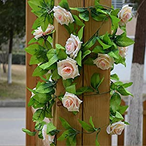 GSD2FF 2.45m/lot Fake Silk Roses Artificial Flowers Ivy Vine Hanging Garland Decor with Green Leaves Home Wedding Decoration 27