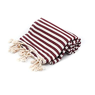 Striped Turkish Towel Peshtemal in 100% Cotton for Beach Bath Swimming Pool Yoga Pilates Picnic Blanket Scarf Wrap Hammam Fouta Turkish Bath Towels Beach Towel (Burgundy)