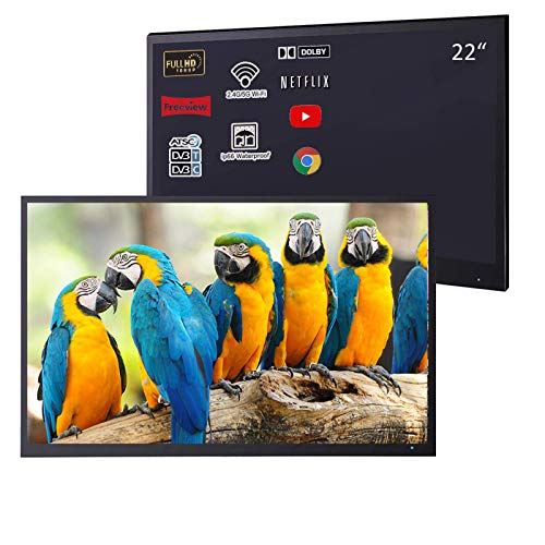 Soulaca 22 inches Black Smart Bathroom LED TV Waterproof SPA 1080P Android 7.1 ATSC/DVB (Velasting FBA)