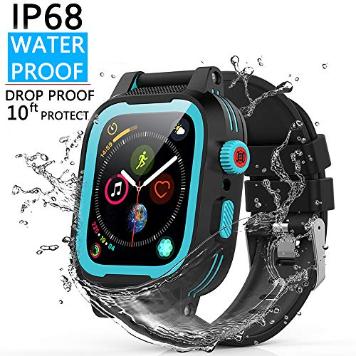 YOGRE Waterproof Watch Case for 44mm Series 4, Full Sealed Waterproof iWatch Case Series 4 44mm with Resilient Shock Absorption, Package with 2 Soft Silicone Watch Band