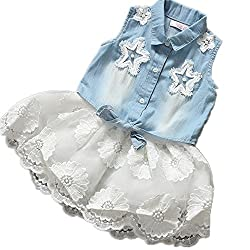 WINMI® 2PCS Kid Baby Jeans Girls Denim Skirt Princess Tutu Chiffon Layer Dress (L)